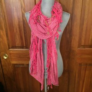 Juicy Couture pink striped Scarf